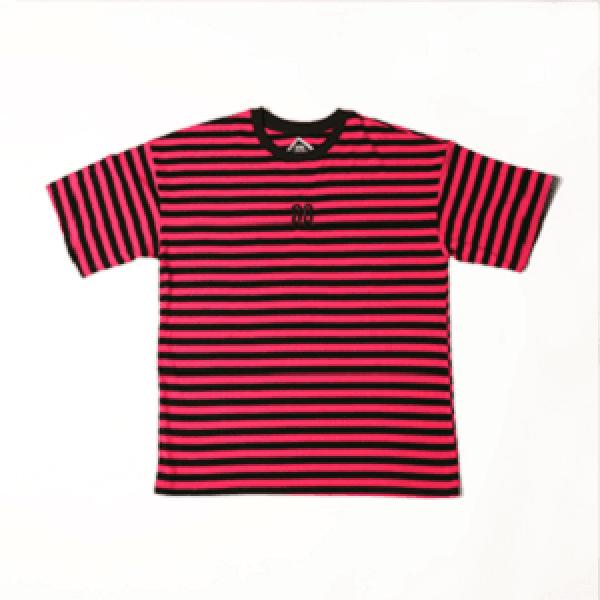 AROUND80-[Around80] Stripe Snake Rose T-shirts Pink