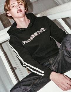 [At The Moment] MOMENT Laser Cutting Hoddie (BLACK)