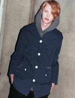 [At The Moment] Padding Single Jacket (NAVY)