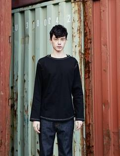 [At The Moment] Banding T-shirt Long (BLACK)