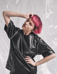 [Steedment] Leather zipper T-ShirtWomen