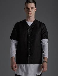 [Sley] LEATHER TRIM BASEBALL SHIRT