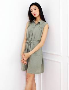 [Awe Born Us] MESH SHIRT DRESS