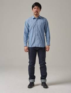 [Twobuildershouse] ORGANIC COTTON CHAMBRAY SHIRT (Blue)