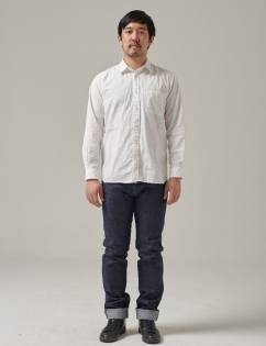 [Twobuildershouse] ORGANIC COTTON CHAMBRAY SHIRT (White)