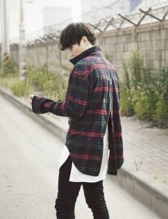 [Fade6] Backzip Red Check Shirt