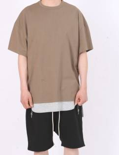 [Fade6] Over Boxy T-Shirt Dark Olive