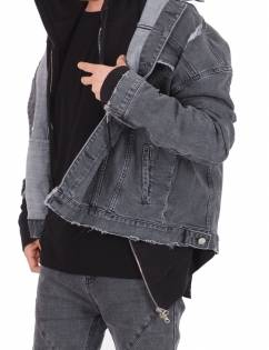 [Fade6] Washed Grey Denim Jacket