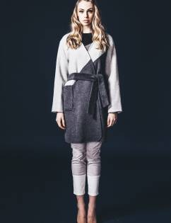[Abraham K Hangul] PATCHWORK COAT-GREY