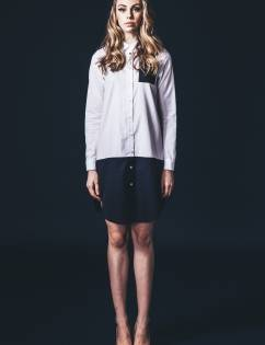 [Abraham K Hangul] PATCHWORK LONG SHIRTS-WHITE