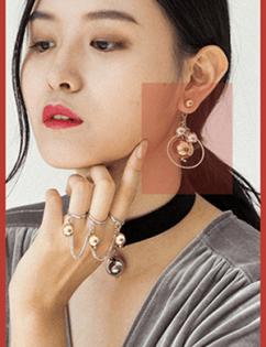 [Hotdew] Metal Ball & Circle Earrings