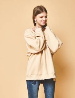 [General Cotton] Fleece fabric Original Beige