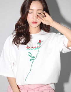 [Around80] ROSE T-SHIRTS_WHITE