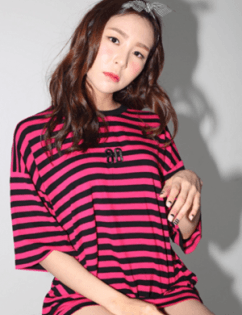 [Around80] Stripe Snake Rose T-shirts Pink