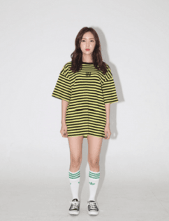 [Around80] Stripe Snake Rose T-shirts Yellow